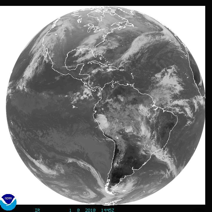 NOAA Satellite image Atlantic and Pacific hurricanes
