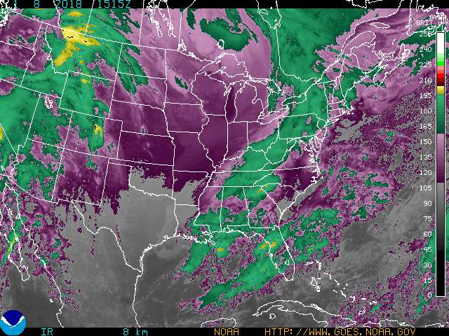 GOES 8 Eastern US SECTOR Infrared Image