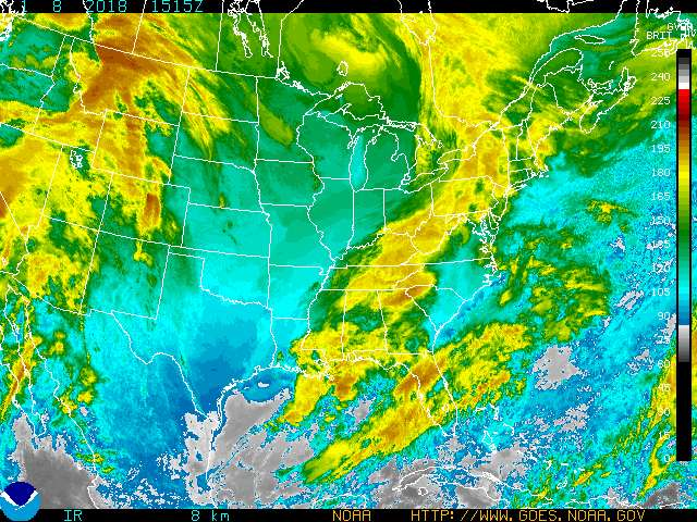 Color Enhanced Eastern CONUS Infrared Satellite. Click on image to go to an interactive page.