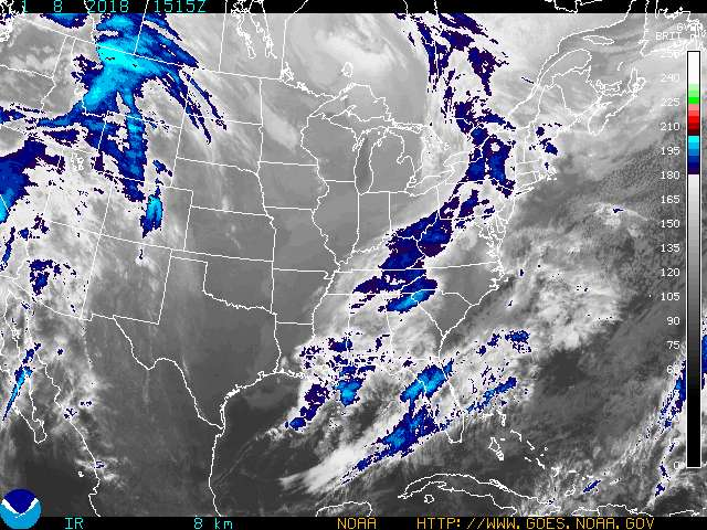 NOAA GOES Eastern US SECTOR Infrared Satellite Image