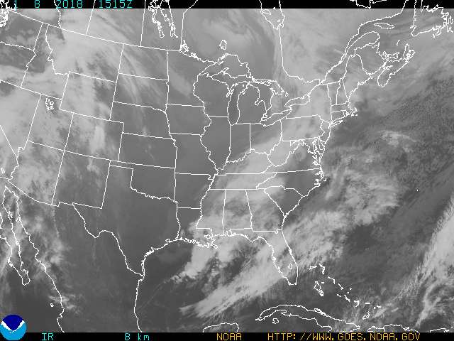 Current GOES-East Eastern US infrared conus sector image