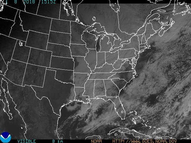 Infrared East CONUS VIS Satellite Image