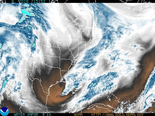 A recent water vapor image from GOES-12.  Click on the image for a larger view.