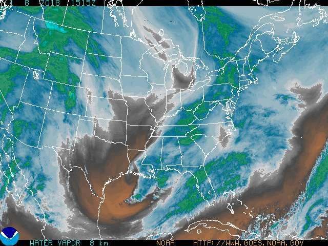GOES 8 Eastern US SECTOR Water Vapor Image