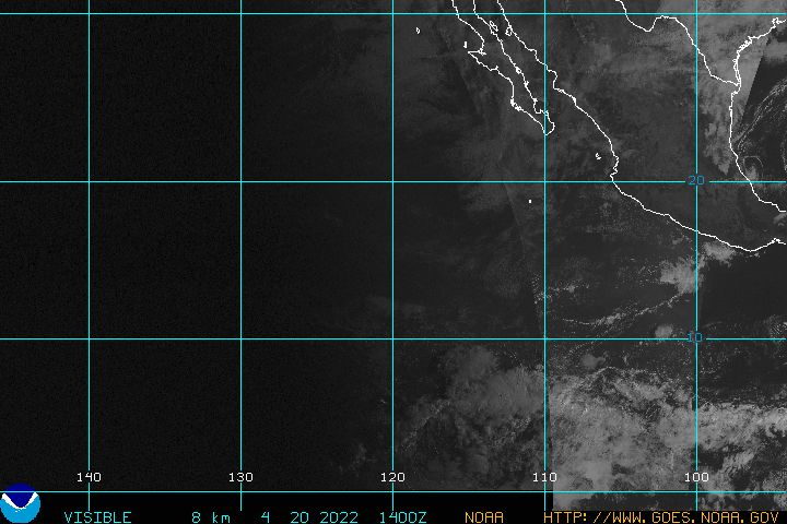 Eastern Pacific Visible Light Satellite Image