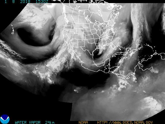Image of water vapor across north america