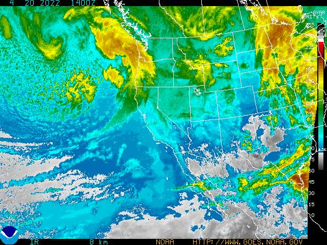 Infrared image of cloud patterns in western north america