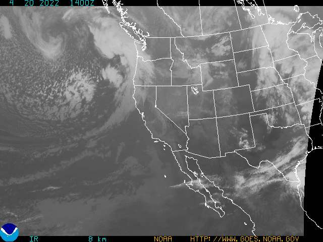 This is an infrared satellite picture above San Diego County, as of 15 minutes ago.