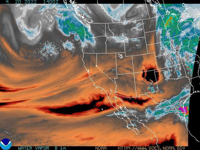 current goes west color enhanced water vapor image