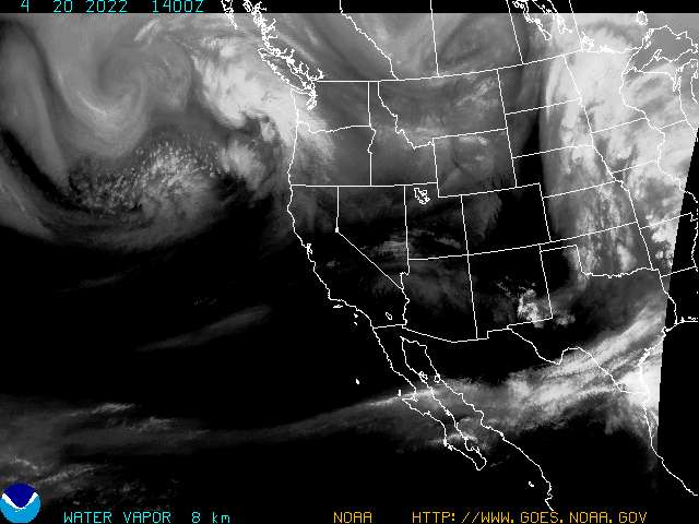Current Goes west western us water vapor image