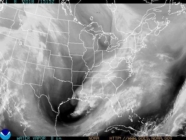 Latest Eastern United States and Western Atlantic Ocean Water Vapor Animated Satellite Loop Thumbnail