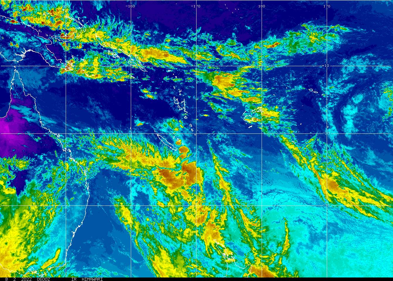 Southern Hemisphere Composite Sector: Himawari 8 East Infrared, Ch 2